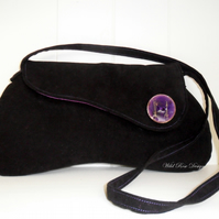 Black moleskin shoulder bag - Sale item!