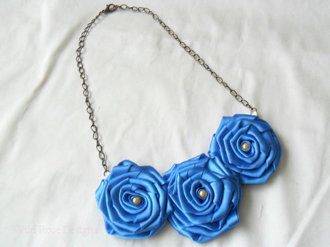 Statement necklace in azure blue satin