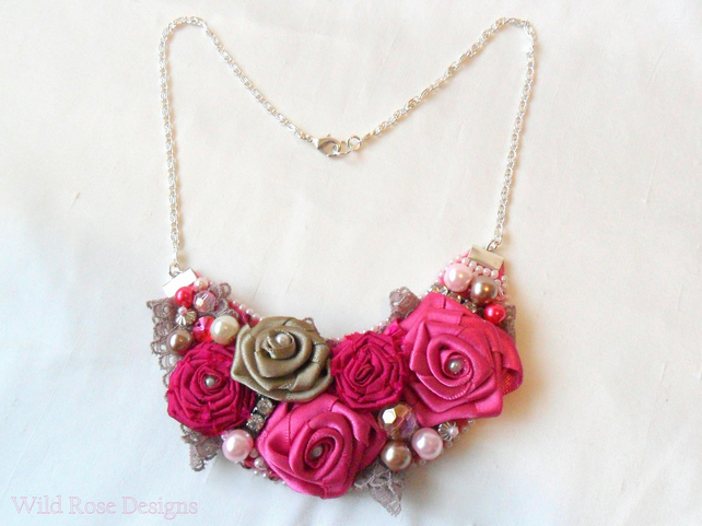 Pink statement necklace. Fabric and bead necklace.