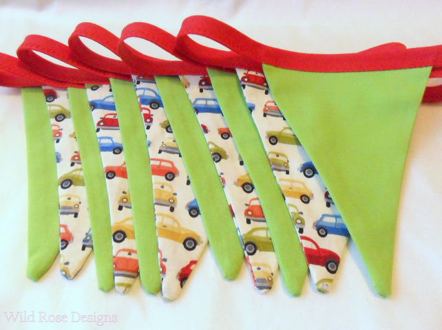 Bunting in red and green. Car bunting. Children's bunting.  Sale item!