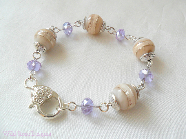 Cream, Silver and Lilac bead bracelet- Sale item, final reduction!