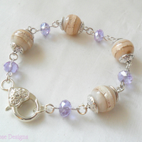 Cream, Silver and Lilac bead bracelet