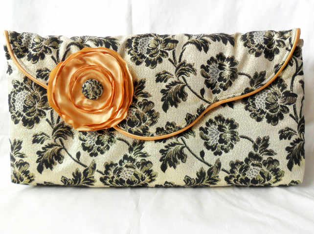 Gold and black brocade clutch bag. Evening bag - Sale item!
