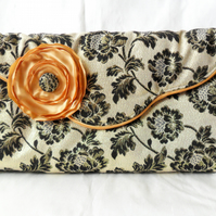 Gold and black brocade clutch bag. Evening bag