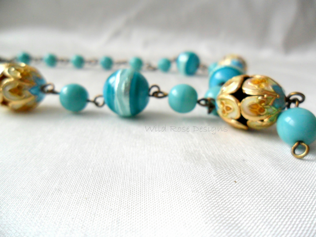 Turquoise bead necklace - Sale item, final reductions!