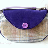Blue and purple across the body bag. Shoulder bag.