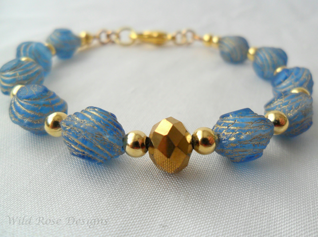 Blue and gold beaded bracelet