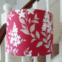 Drum lampshade in a raspberry floral print