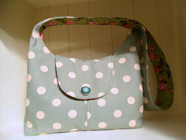 Green spotted hobo bag. Shoulder bag.