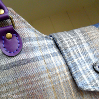 Blue wool check Shoulder bag. Wool tweed Tote bag.