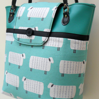 Mint green 'sheep' design tote, shoulder bag