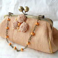Gold silk evening bag. Clutch bag
