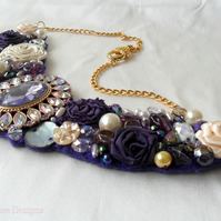 Purple beaded statement necklace.