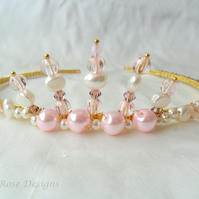Handmade pink crown tiara