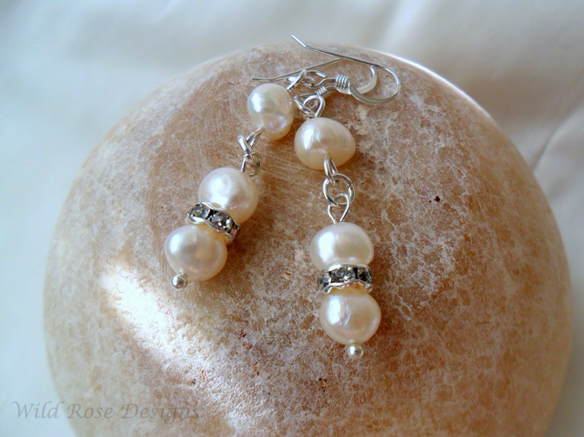 Pearl and diamante earrings