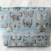 Teal and grey make-up bag. Cosmetics purse