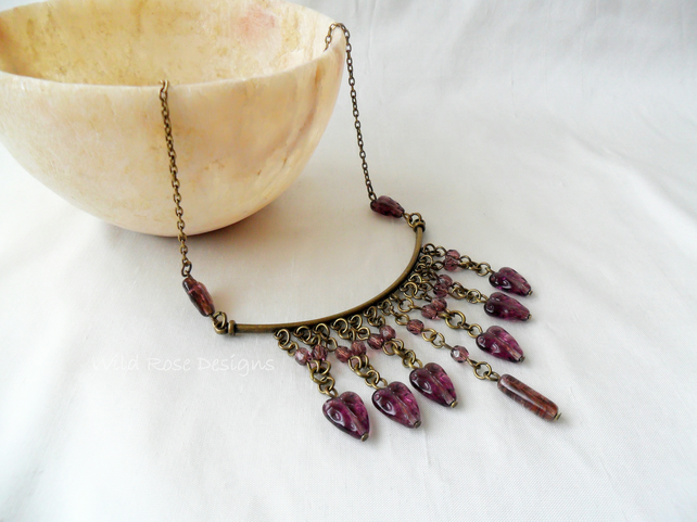 Purple and bronze necklace. Statement necklace. Sale item!