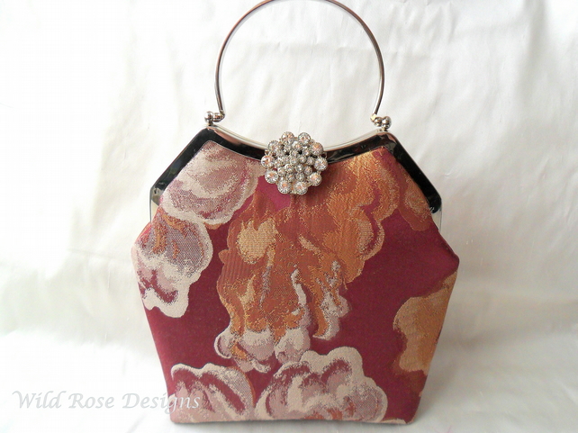 Brocade evening bag in wine and gold. Prom bag