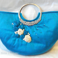 Blue silk decorated evening bag. Wedding bag. Prom bag.