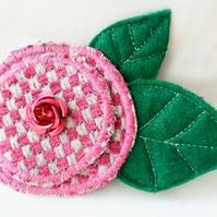 'Rose' fabric brooch. Fabric corsage.  Floral fabric brooch.