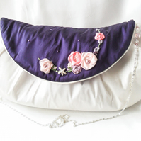 Ivory silk evening or wedding bag with embroidered purple flap.