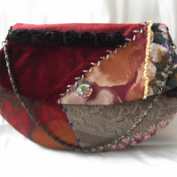 Red evening bag with crazy patchwork and ribbon and bead embroidery