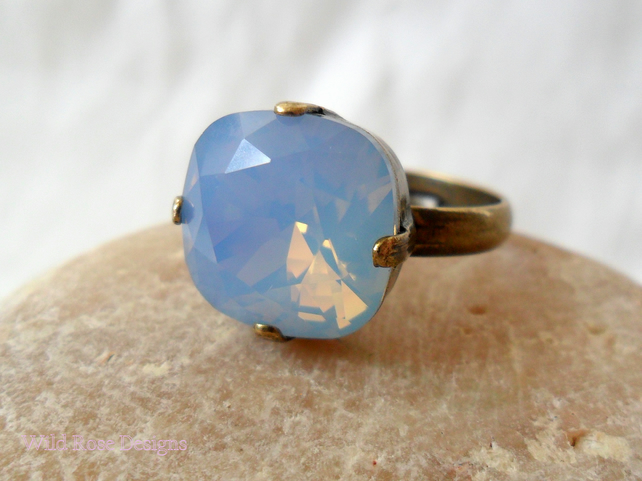 Square Swarovski opal ring