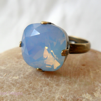 Square Swarovski opal ring . Sale item!