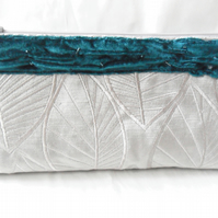 Velvet clutch in silver grey and Teal