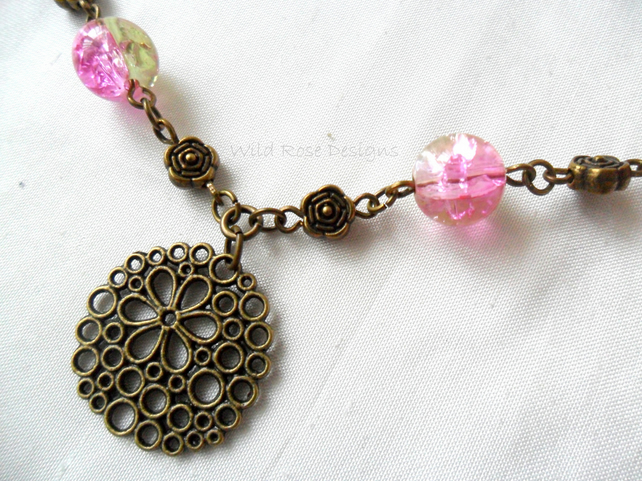 Pink and bronze necklace