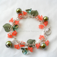Coral and green bracelet -Sale item!