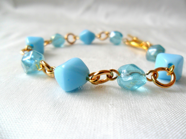 Turquoise and gold bracelet - Sale item!