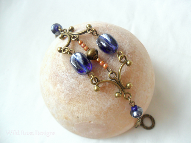 Blue and bronze bracelet - Sale item!