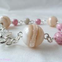 Cream, pink and grey bracelet - Sale item!