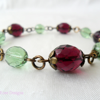 Purple and green vintage style bracelet
