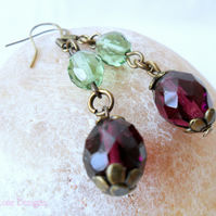 Purple and green dangle earrings - Sale item!