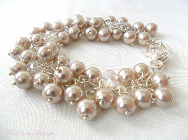 Pearl and crystal cluster bracelet - Sale item!