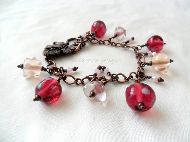 Pink and copper bracelet - Sale item!