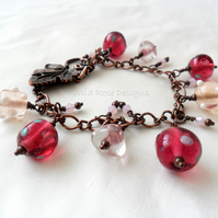Pink and copper bracelet