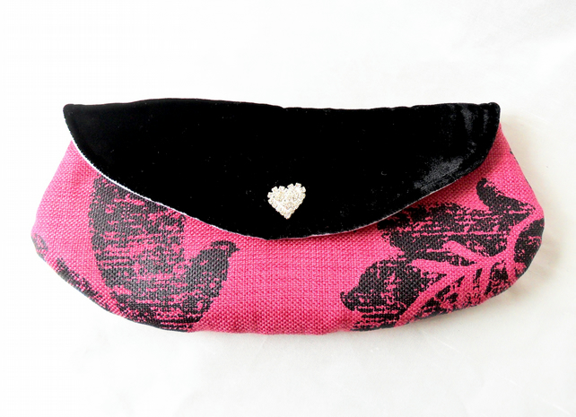 Mini make up bag. Small clutch with black velvet flap