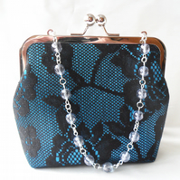 Teal and black lace evening bag