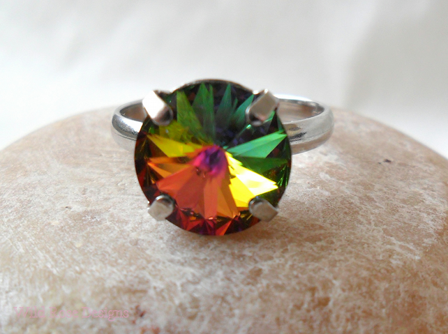 Ptatinum-plated adjustable ring with Swarovski crystal - Sale item!