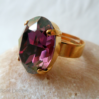 Adjustable ring with a large oval Amethyst Swarovski Crystal