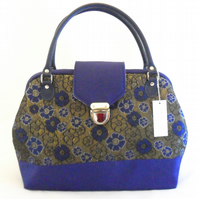 Blue and dark gold brocade handbag