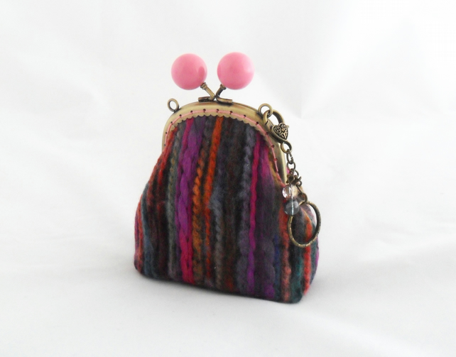 Stripey bobble clasp coin purse