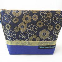 Navy and gold brocade make-up bag