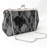 Silver satin and black lace evening bag