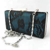 Lace clutch in teal and black. Minaudiere clutch
