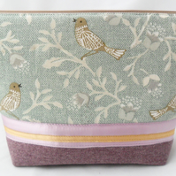 Handmade makeup bag in mint and lilac