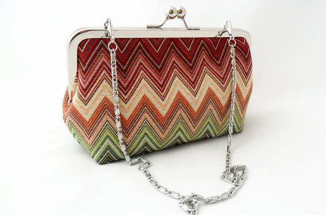 Multi stripe evening clutch